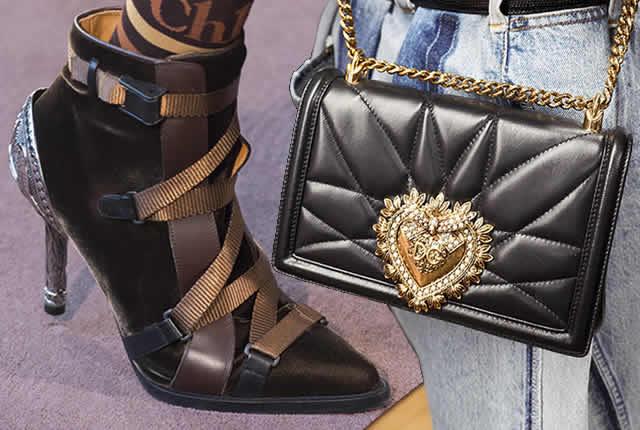 Tendencias de zapatos y bolsos en pasarelas internacionales 2018-2019